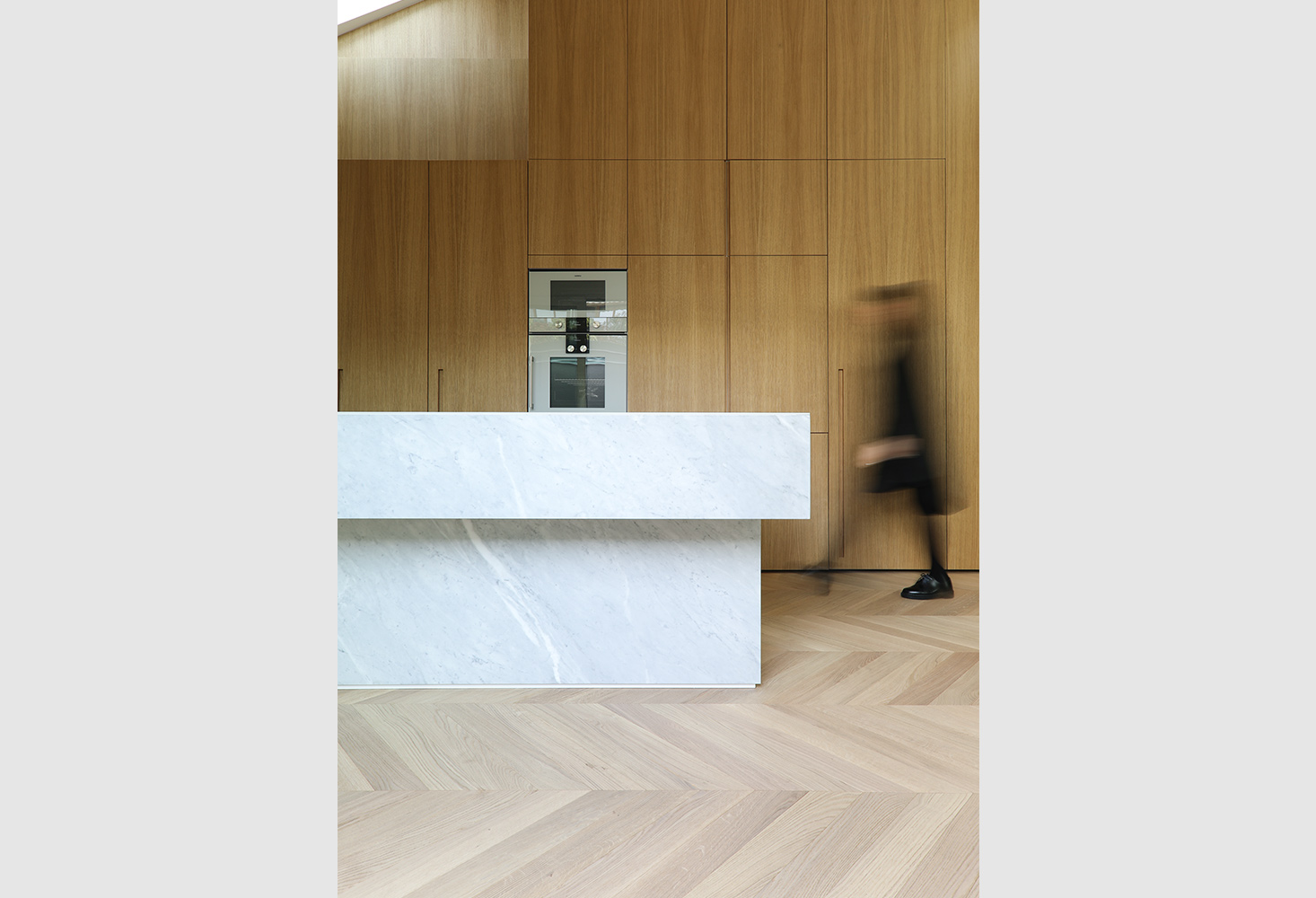 parquet Spina ungherese 45°, European Oak Select, brushed oiled bianco 099