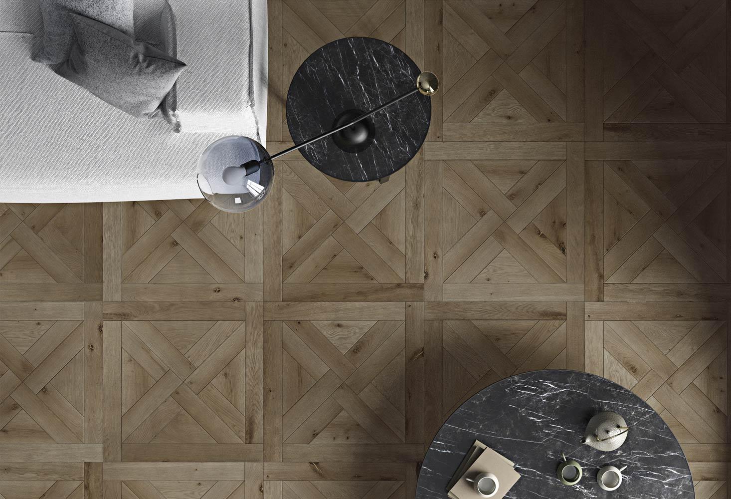 Quadrotte rovere rustico spazzolato verniciato grigio tannino bisellato - Montevarchi